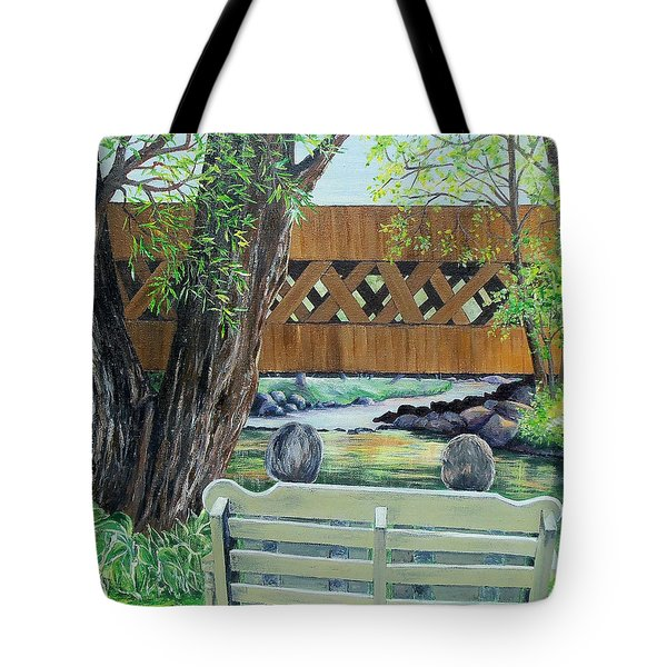 Tote Bag featuring the painting Enjoying The View by Susan DeLain