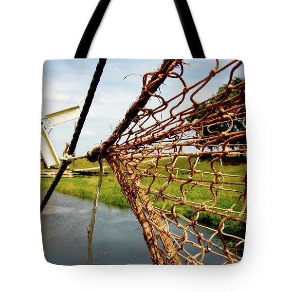 Tote Bag featuring the photograph Enkhuizen Windmill And Nets by KG Thienemann