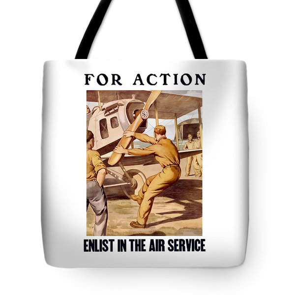 Enlist In The Air Service Tote Bag by War Is Hell Store