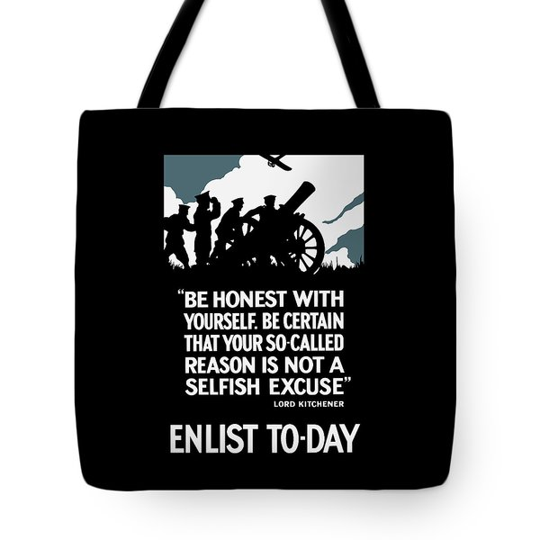 Enlist To-day - Lord Kitchener  Tote Bag by War Is Hell Store