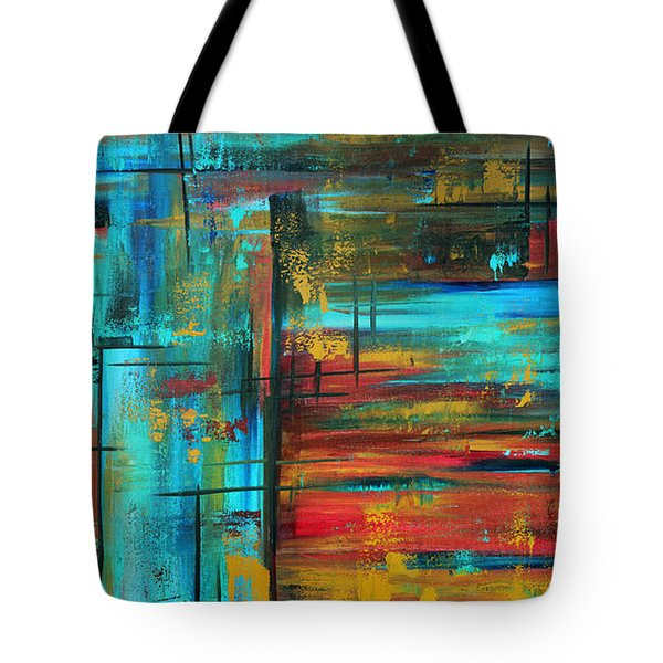 Enormous 3x5 Abstract Art Huge Original Contemporary Painting Into Autumn By Madart Tote Bag by Megan Duncanson