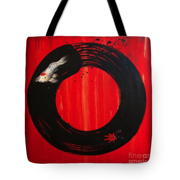 Enso With Koi Red And Gold Tote Bag