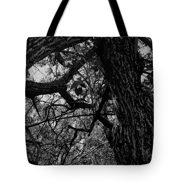 Enter The Woods In Black And White Tote Bag