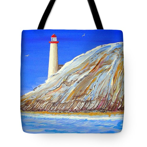 Tote Bag featuring the painting Entering The Harbor by J R Seymour