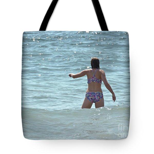 Entering Waves Of Pacific Ocean Tote Bag