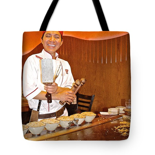 Entertaining Chef At Benihana In Monterey-california Tote Bag