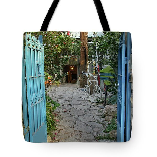 Tote Bag featuring the photograph Entrance Door To The Artist by Yoel Koskas