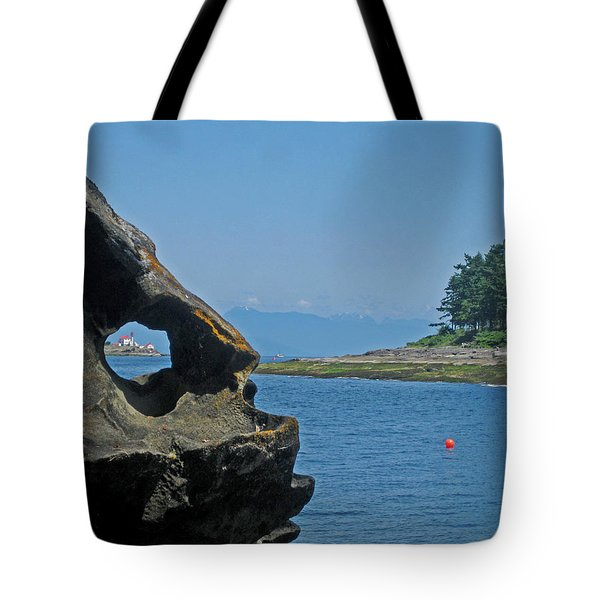 Entrance Island Lighthouse Through A Rock Window Tote Bag