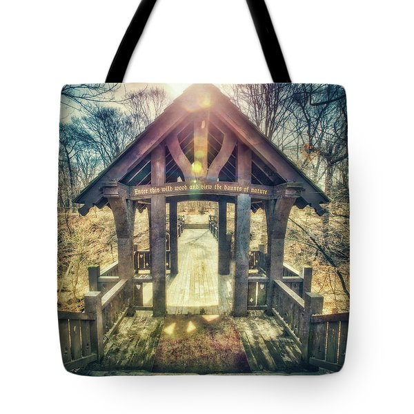 Tote Bag featuring the photograph Entrance To 7 Bridges - Grant Park - South Milwaukee  by Jennifer Rondinelli Reilly - Fine Art Photography