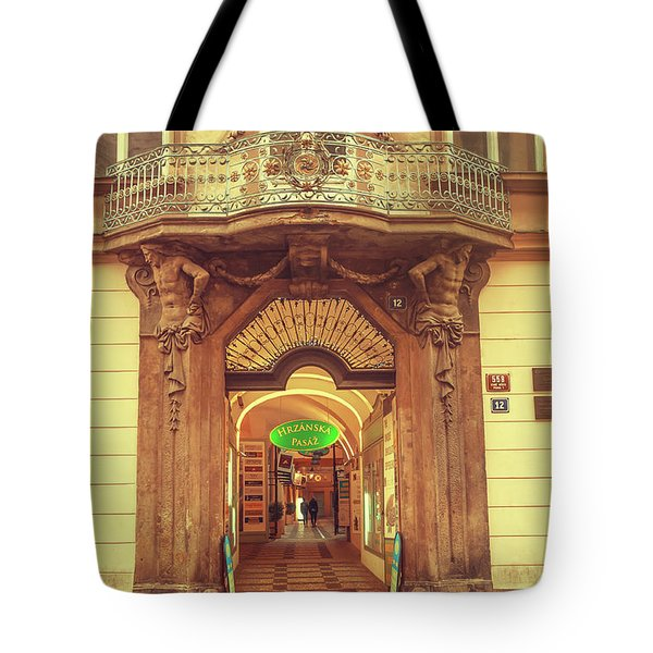 Tote Bag featuring the photograph Entrance To Passage. Series Golden Prague by Jenny Rainbow