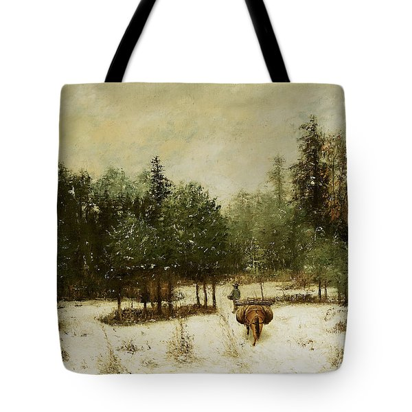 Entrance To The Forest In Winter Tote Bag by Cherubino Pata