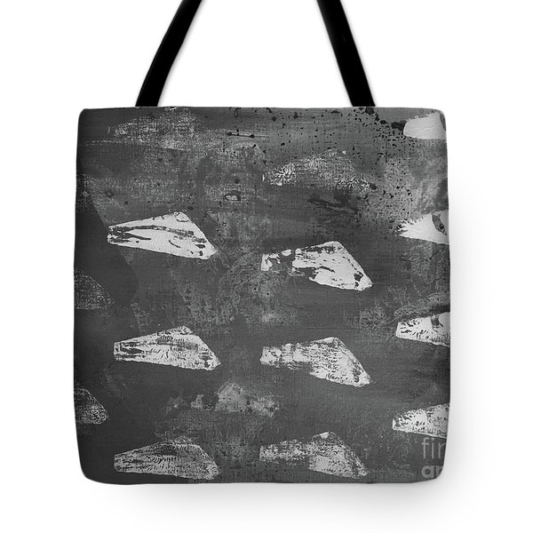Tote Bag featuring the painting Eoliths Grayscale by Robin Maria Pedrero