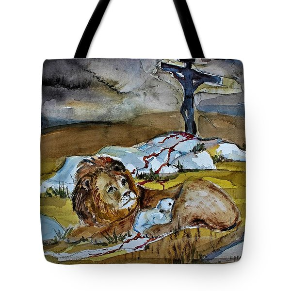 Tote Bag featuring the painting Ephesians 2 13 by Mindy Newman