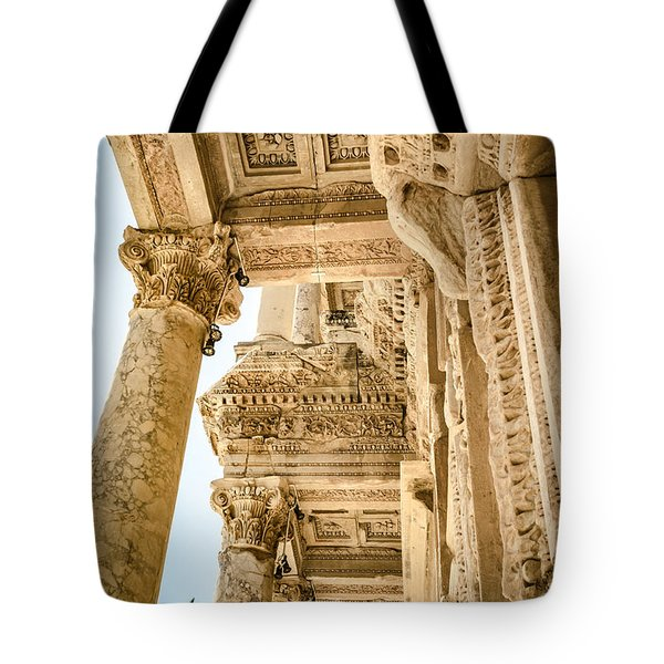 Ephesus Library Columns And Ceiling Tote Bag