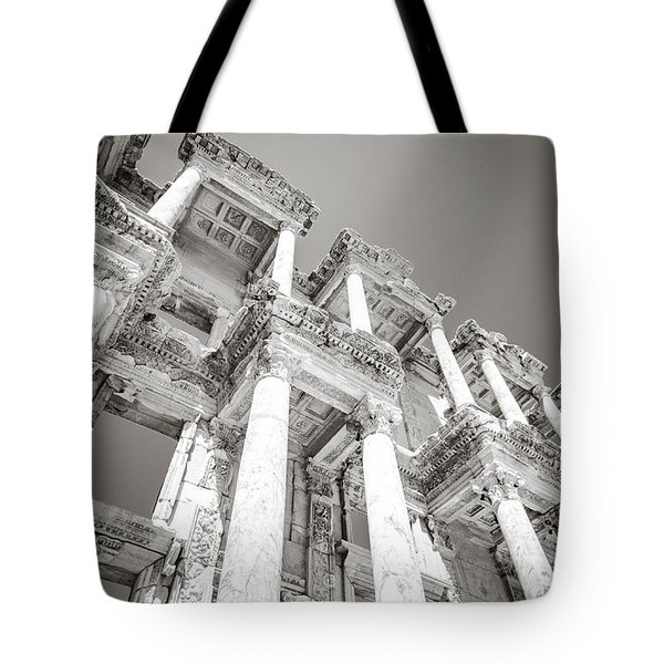 Ephesus Library In Black And White Tote Bag