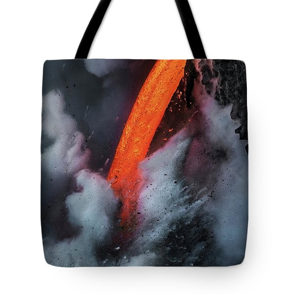 Epic Battle Between Lava And The Sea Tote Bag