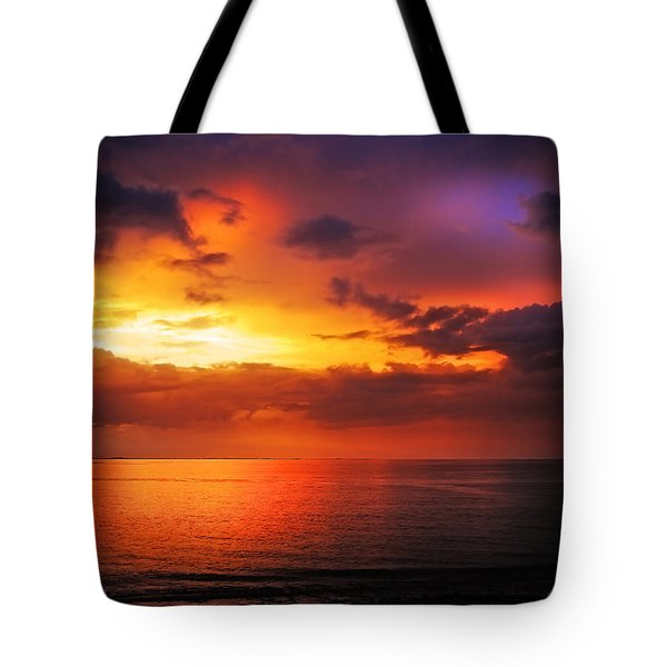 Epic End Of The Day At Equator Tote Bag by Jenny Rainbow