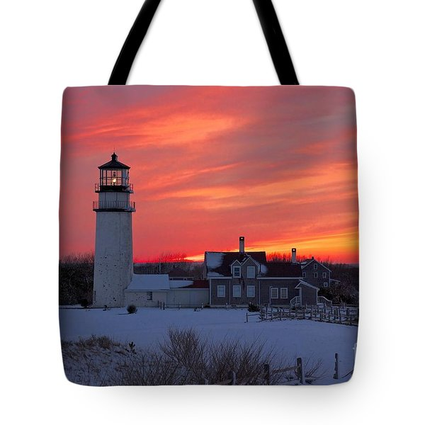 Tote Bag featuring the photograph Epic Sunset At Highland Light by Amazing Jules