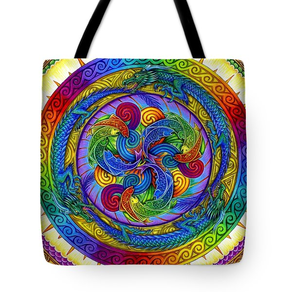 Psychedelic Dragons Rainbow Mandala Tote Bag