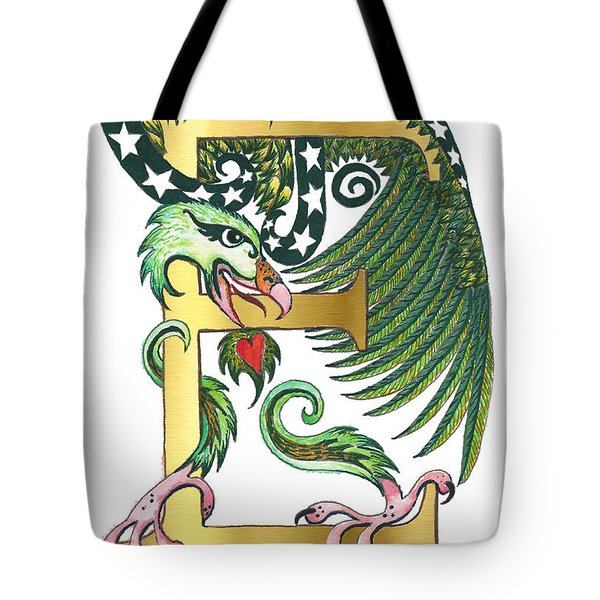 Epsilon Eagle In Green And Digital Gold Tote Bag by Melinda Dare Benfield