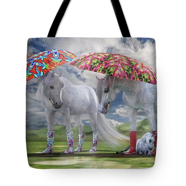 Equine Spring Showers Tote Bag