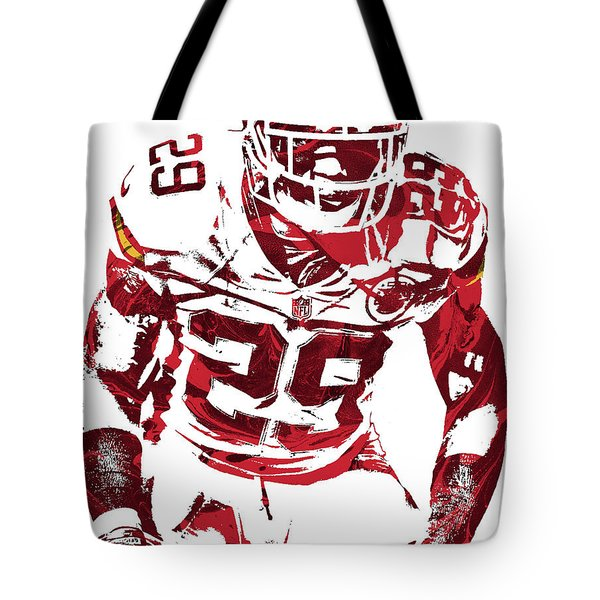 Tote Bag featuring the mixed media Eric Berry Kansas City Chiefs Pixel Art 2 by Joe Hamilton