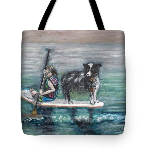 Erin And Oakie On The Paddle Board Tote Bag