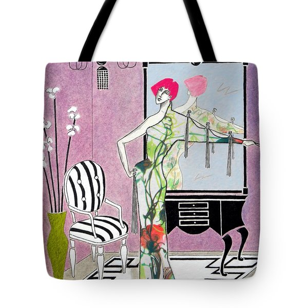 Erte'-esque -- Art Deco Interior W/ Fashion Figure Tote Bag