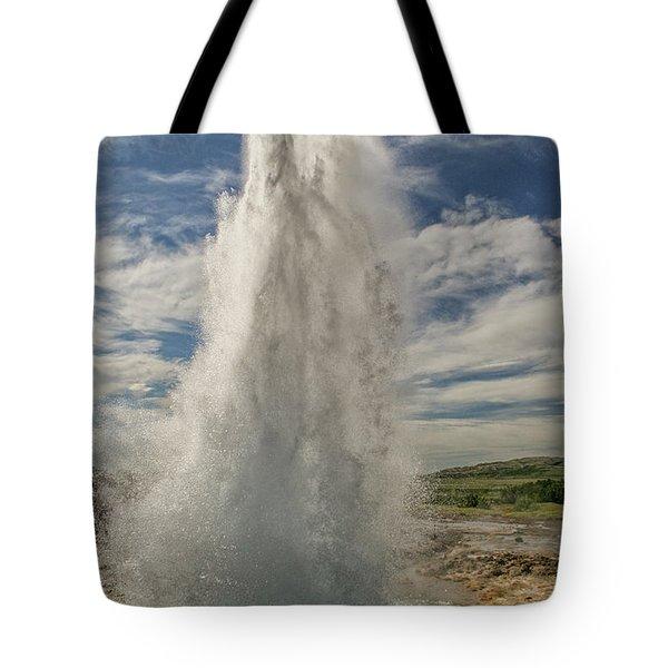 Erupting Geyser In Iceland Tote Bag