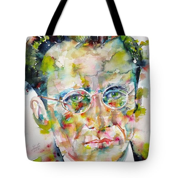 Tote Bag featuring the painting Erwin Schrodinger - Watercolor Portrait by Fabrizio Cassetta
