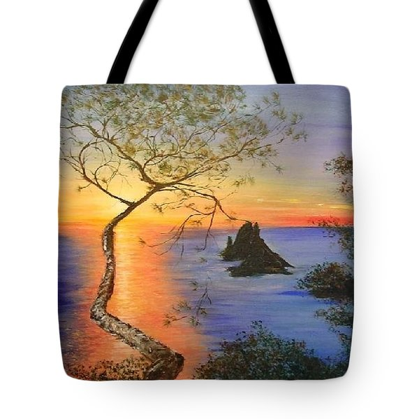 Es Vedra Island Off Ibiza South Coast Tote Bag by Lizzy Forrester