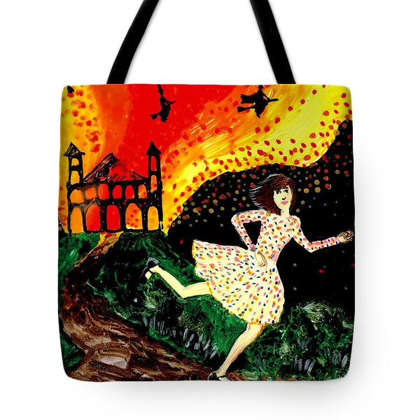 Escape From The Burning House Tote Bag by Sushila Burgess