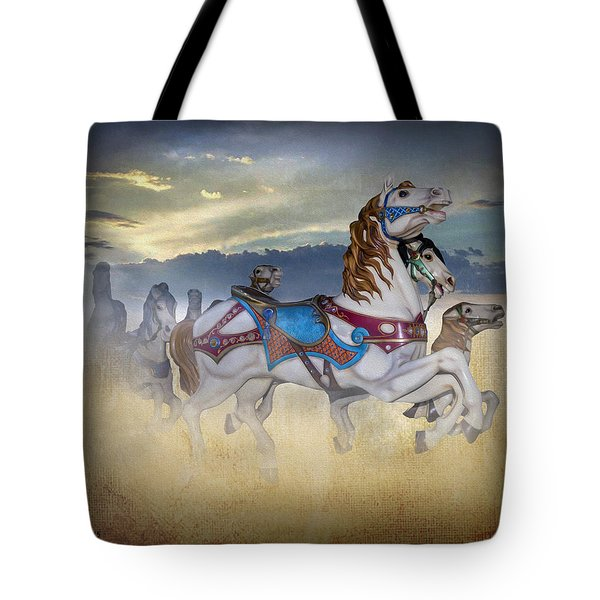 Escape Of The Carousel Horses Tote Bag