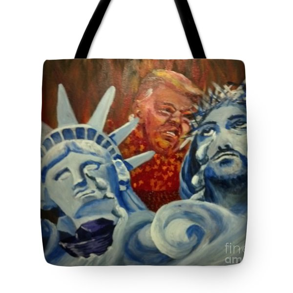Tote Bag featuring the painting Escape On Tears Of Love And Liberty by Saundra Johnson