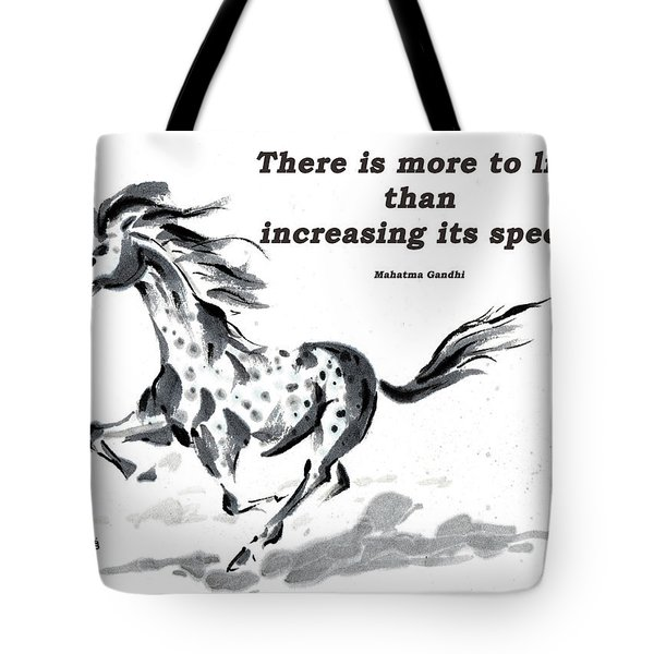 Tote Bag featuring the painting Escape With Gandhi Quote  by Bill Searle