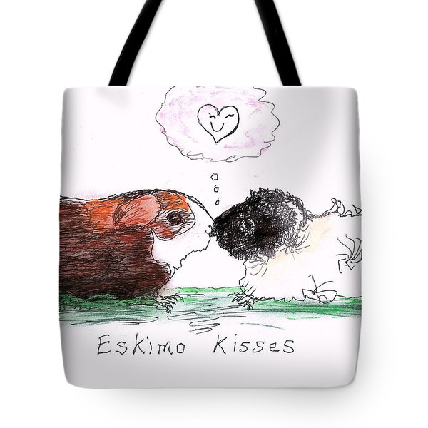 Tote Bag featuring the drawing Eskimo Kisses by Denise Fulmer