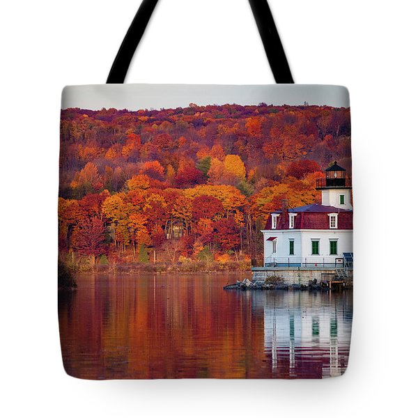 Esopus Lighthouse In Late Fall #1 Tote Bag by Jeff Severson