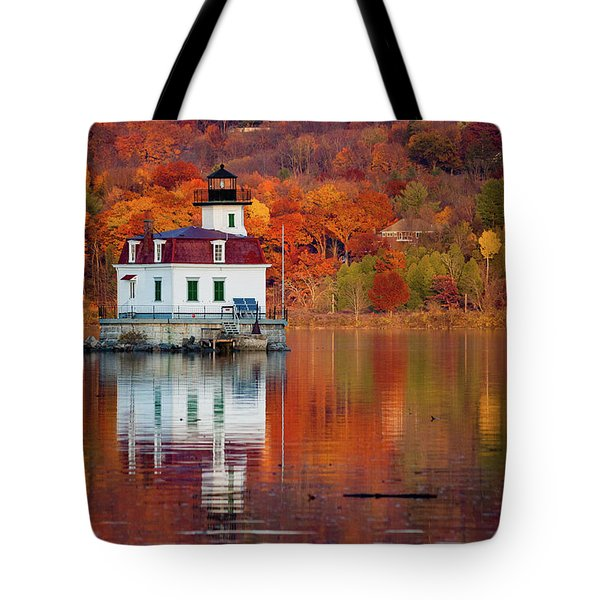 Esopus Lighthouse In Late Fall #2 Tote Bag by Jeff Severson