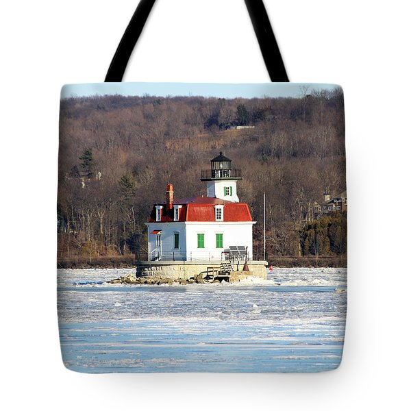 Tote Bag featuring the photograph Esopus Lighthouse In Winter #2 by Jeff Severson