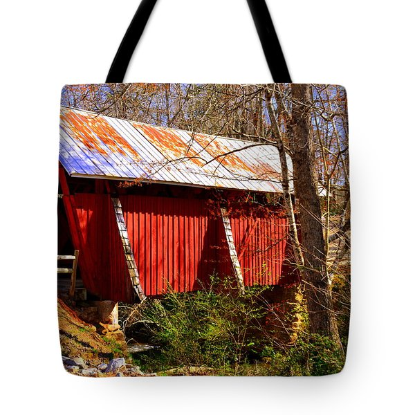 Tote Bag featuring the photograph Est. 1909 Campbell's Covered Bridge by Lisa Wooten