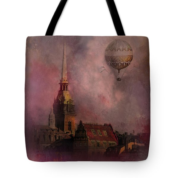 Tote Bag featuring the digital art Stockholm Church With Flying Balloon by Jeff Burgess