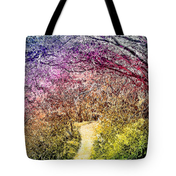 Tote Bag featuring the digital art Ethereal Garden Pathway - Trail In Santa Monica Mountains by Joel Bruce Wallach