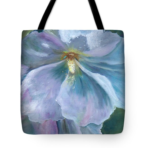 Tote Bag featuring the painting Ethereal White Hollyhock by Jane Autry