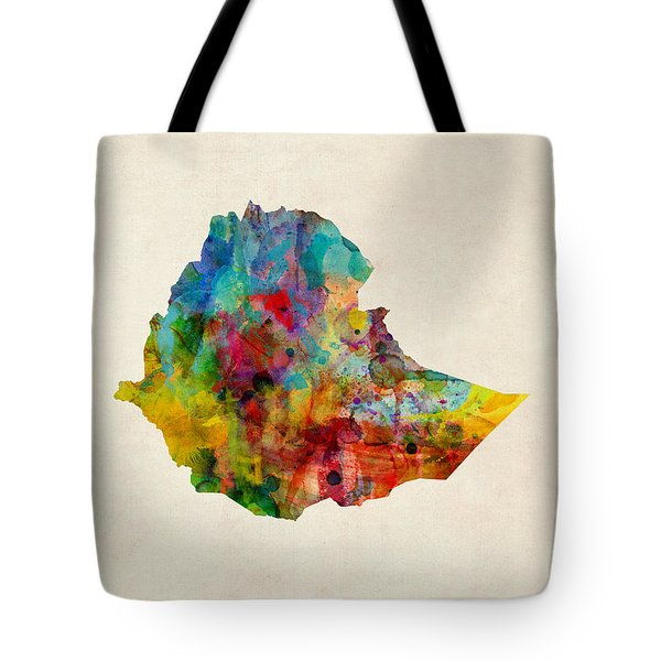 Tote Bag featuring the digital art Ethiopia Watercolor Map by Michael Tompsett