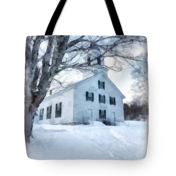 Tote Bag featuring the painting Etna Center Church by Edward Fielding