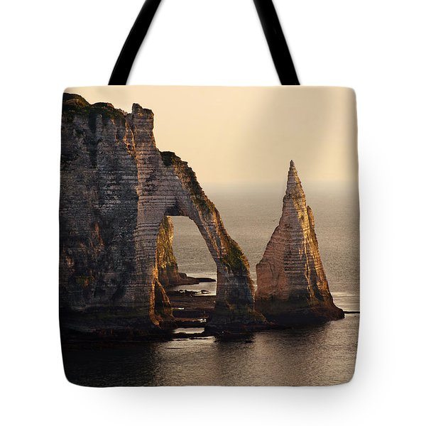 Tote Bag featuring the photograph Etretat In Morning Sun by Jaroslaw Blaminsky