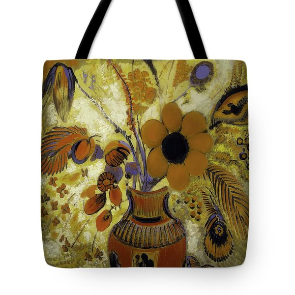 Tote Bag featuring the painting Etrusian Vase With Flowers by Odilon Redon