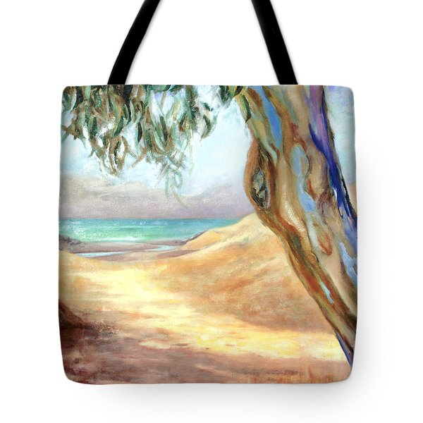 Tote Bag featuring the painting Eucalyptus Beach Trail by Michael Rock