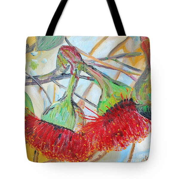 Tote Bag featuring the painting Eucalyptus Flowers by Reina Resto