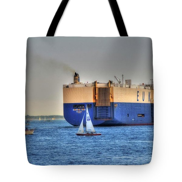 Tote Bag featuring the photograph Eukor Car Carrier Ship - Boston Harbor by Joann Vitali